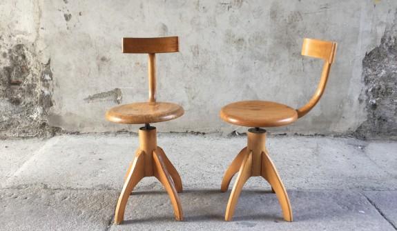 Sgabello sedia da bar con schienale in legno massello e